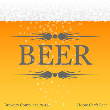 beer card: Banner with beer theme yellow background. Poster for beer festival. Business card for private brewery.