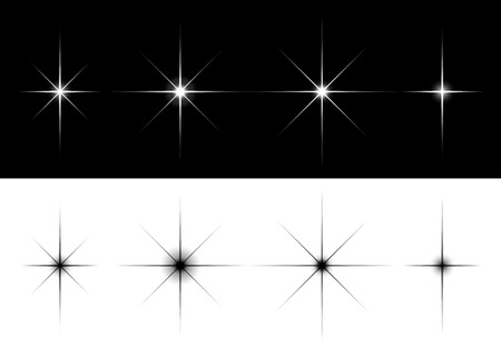 fleck: Set of sparkle lights stars. Flares or stars with rays, explosion, fireworks. Isolated  illustration