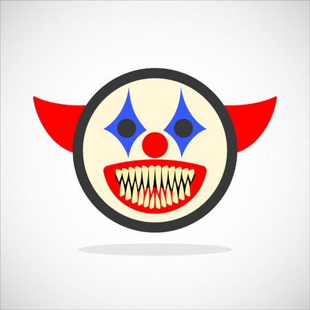 Creepy clown. Evil scary halloween monster, joker character. Isolated vector illustration