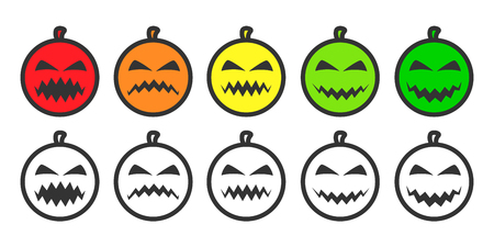 Halloween Pumpkin Emoji icons, emoticons for rate of satisfaction level. Five grade smileys for using in surveys. Colored and outline icons. Isolated vector illustration on white background Vettoriali