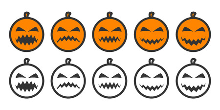 five pointed: Halloween Pumpkin Emoji icons, emoticons for rate of satisfaction level. Five grade smileys for using in surveys. Colored and outline icons. Isolated vector illustration on white background Illustration