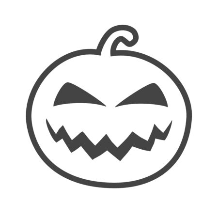 Halloween pumpkin outline thin icon, pumpkin sticker for the Happy Halloween holiday. Isolated vector illustrationon white on background.