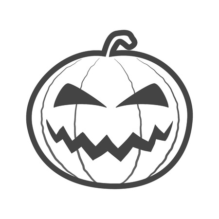 Halloween pumpkin outline thin icon, pumpkin sticker for the Happy Halloween holiday. Isolated vector illustrationon on white background.