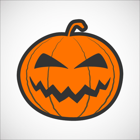 Halloween pumpkin color icon, pumpkin sticker for the Happy Halloween holiday. Isolated vector illustrationon on white background.