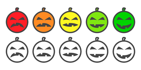 Halloween Pumpkin color Emoji icons, emoticons for rate of satisfaction level. Five grade smileys for using in surveys. Colored and outline icons. Isolated vector illustration on white background Illustration