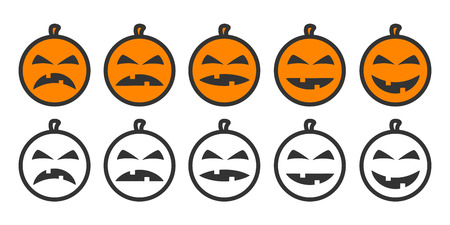 Halloween Pumpkin Emoji icons, emoticons for rate of satisfaction level. Five grade smileys for using in surveys. Colored and outline icons. Isolated vector illustration on white background Illustration