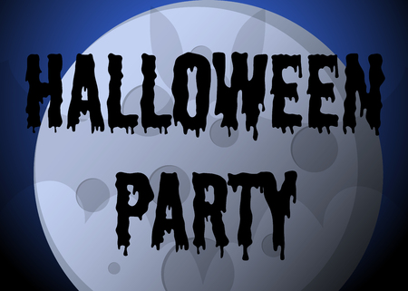 Halloween night party poster or flyer with bat, full moon and inscription. Vector illustration