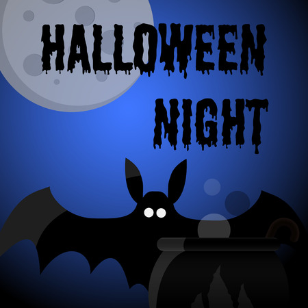Halloween night party poster or greeting card with bat, full moon and inscription. Vector illustration
