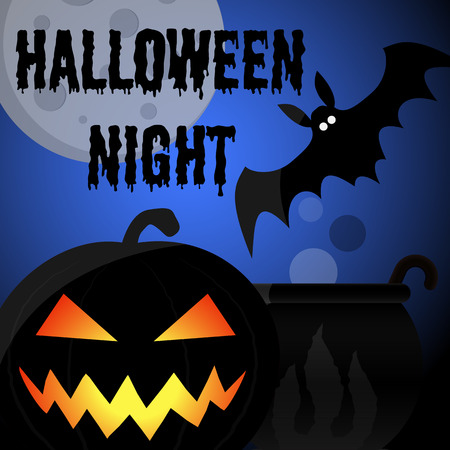 Halloween night party poster or greeting card with pumpkin, bat, full moon and inscription. Vector illustration