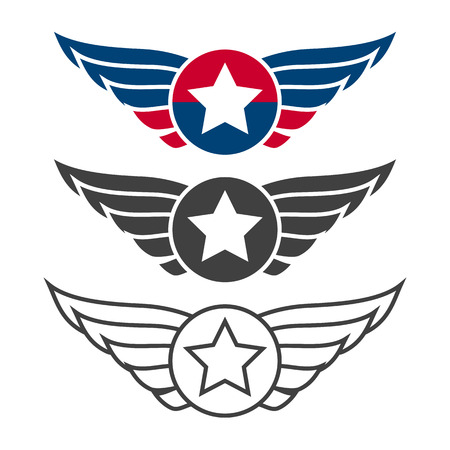 Aviation Emblem Set Badges Or Logos Military And Civil Aviation