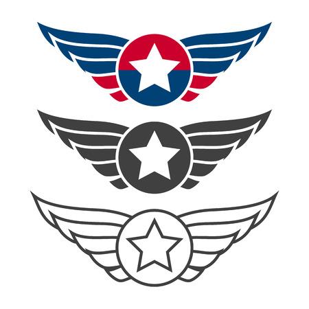 Aviation emblem set, badges or logos. Military and civil aviation icons. Air force symbols. Vector stock illustration.