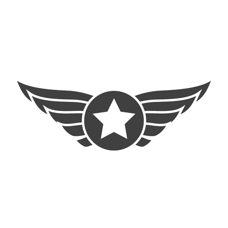 Aviation gray emblem, badge or logo. Military and civil aviation icon. Air force symbol. Vector stock illustration.