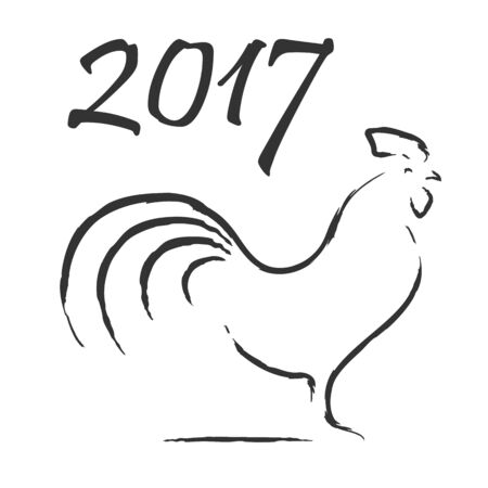 Hand drawn rooster symbol or icon. Chinese calendar for the year of rooster 2017. Isolated vector illustration