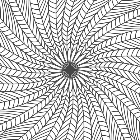 Black and white abstract background made of feathers. Isolated stock vector illustration.