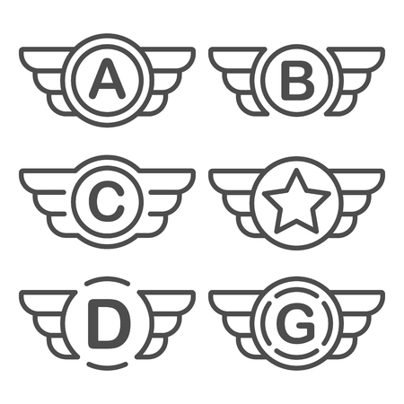 Set of the avia badges with wings. Aviation emblem set based on wing usage. Vector design graphic element for emblem, insignia, sign, identity, logotype, game team logo. Isolated vector illustration. Vettoriali
