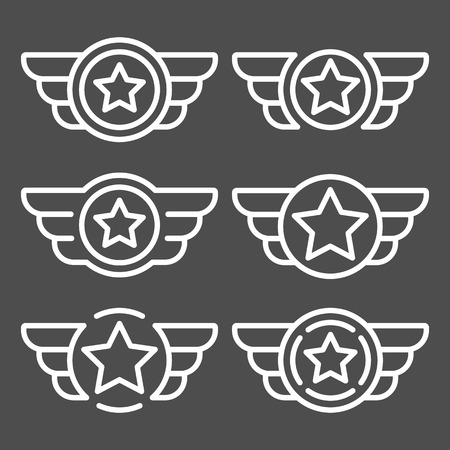 Set of the white avia badges with wings. Aviation emblem set based on wing usage. Vector design element for emblem, insignia, sign, identity, logotype, game team logo. Isolated vector illustration.