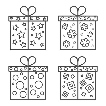 Gift box icon set Vettoriali