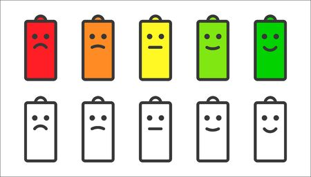 Battery indicator smiley icons Vettoriali