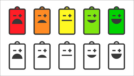 Battery indicator smiley icons Ilustrace