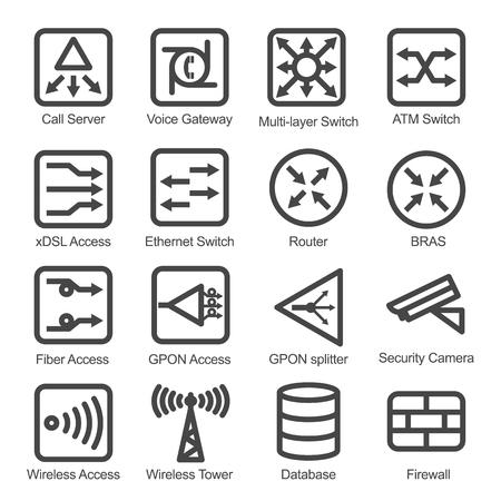 Network Equipment Icon Set - Geïsoleerde Vector Illustratie. Vereenvoudigd line design. Zwarte iconen collectie op wit gemaakt.