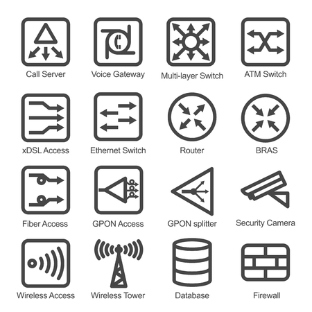 Network Equipment Icon Set - Isolated Vector Illustration. Simplified line design. Black icons collection on white bacground.