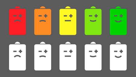 Battery level smiley icons Vettoriali