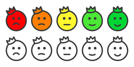 Emoji prince icons for rate of satisfaction level Illustration