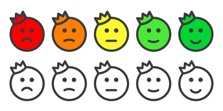 Emoji prince icons for rate of satisfaction level Ilustrace