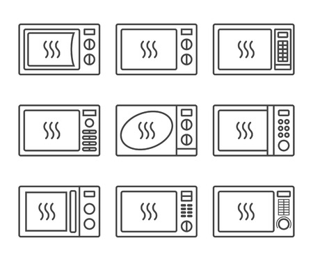 Microwave oevn icon set