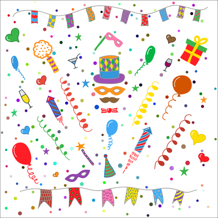 Birthday party symbols collection Vettoriali