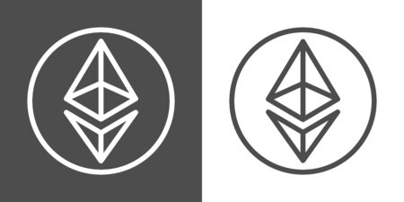 Ethereum signs as thin line icon of internet money