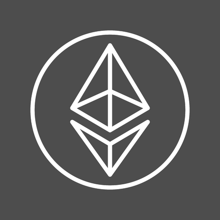 Ethereum sign thin line icon for internet money