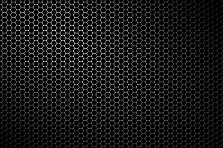 Black metal speaker mesh background. Metallic texture or pattern with hexagonal holes. Vector illustration.