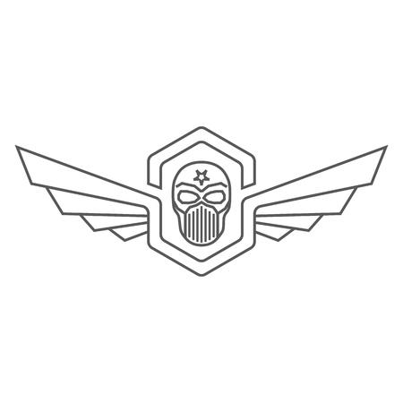Skull helmet with wings design. Vettoriali