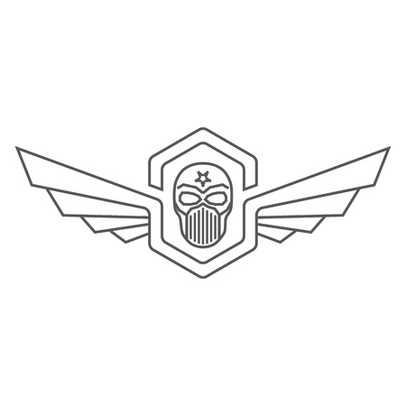 Skull helmet with wings design. Ilustrace