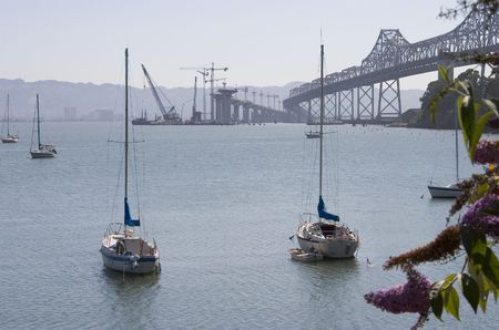 The new San Francisco bay bridge under construction to replace the old bridge which was damaged in the 1989 earth quake. Stock Photo