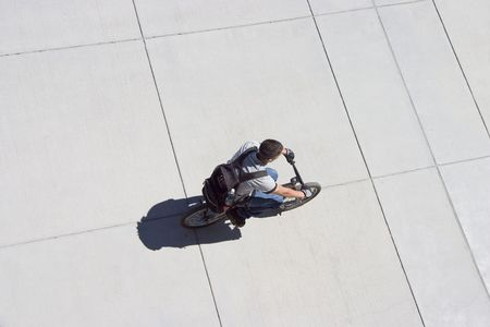A birds eye view of a cyclist.