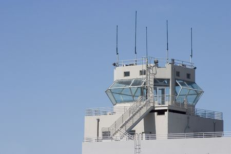 An air-traffic control tower. Stock Photo