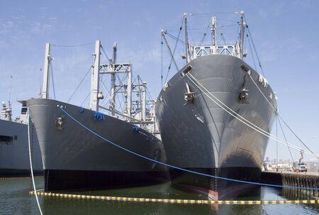 Cargo ships at dock. Banco de Imagens