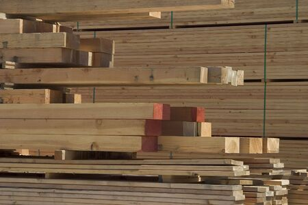 logging industry: A pile of lumber at a lumberyard. Stock Photo