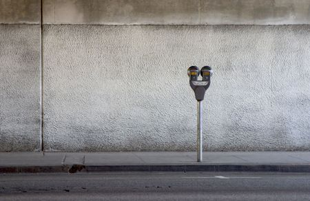 A parking meter under a freeway overpass.