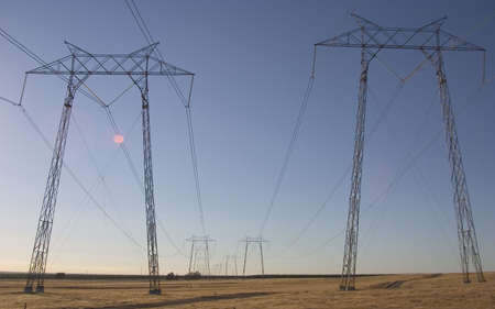 Hight voltage lines are held aloft by giant power towers.