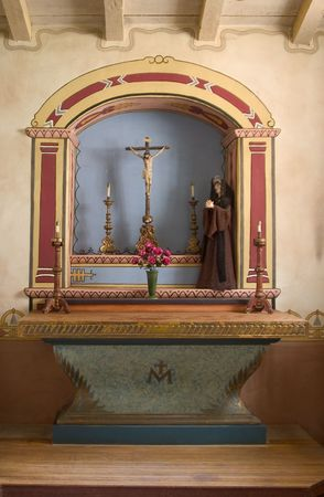 iconography: Religious iconography in California mission.  Stock Photo