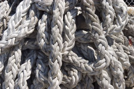 Heavy duty rope used for holding a ship to the dock.