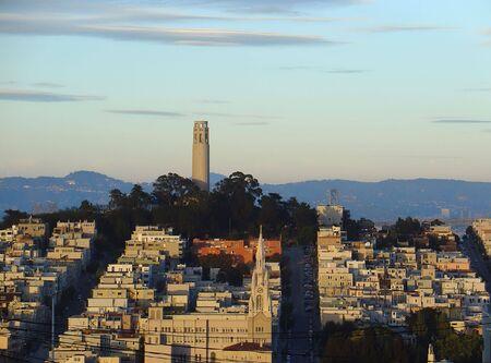 San Franciscos North Beach neighborhood basks in a golden sunset.