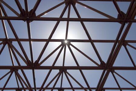 An open structure against the sky. Banco de Imagens