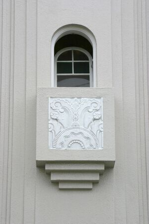 Beautiful exterior detail of an Art Deco house in San Francisco.