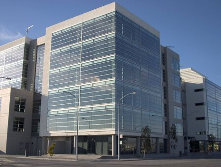 A new metal and glass biotech building in San Franciscos new Mission Bay development.