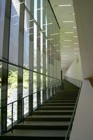 Some Interior steps of the new De Young art museum in San Francisco.