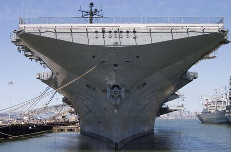 intrepid: The bow of the aircraft carrier intrepid, docked at Alameda California.